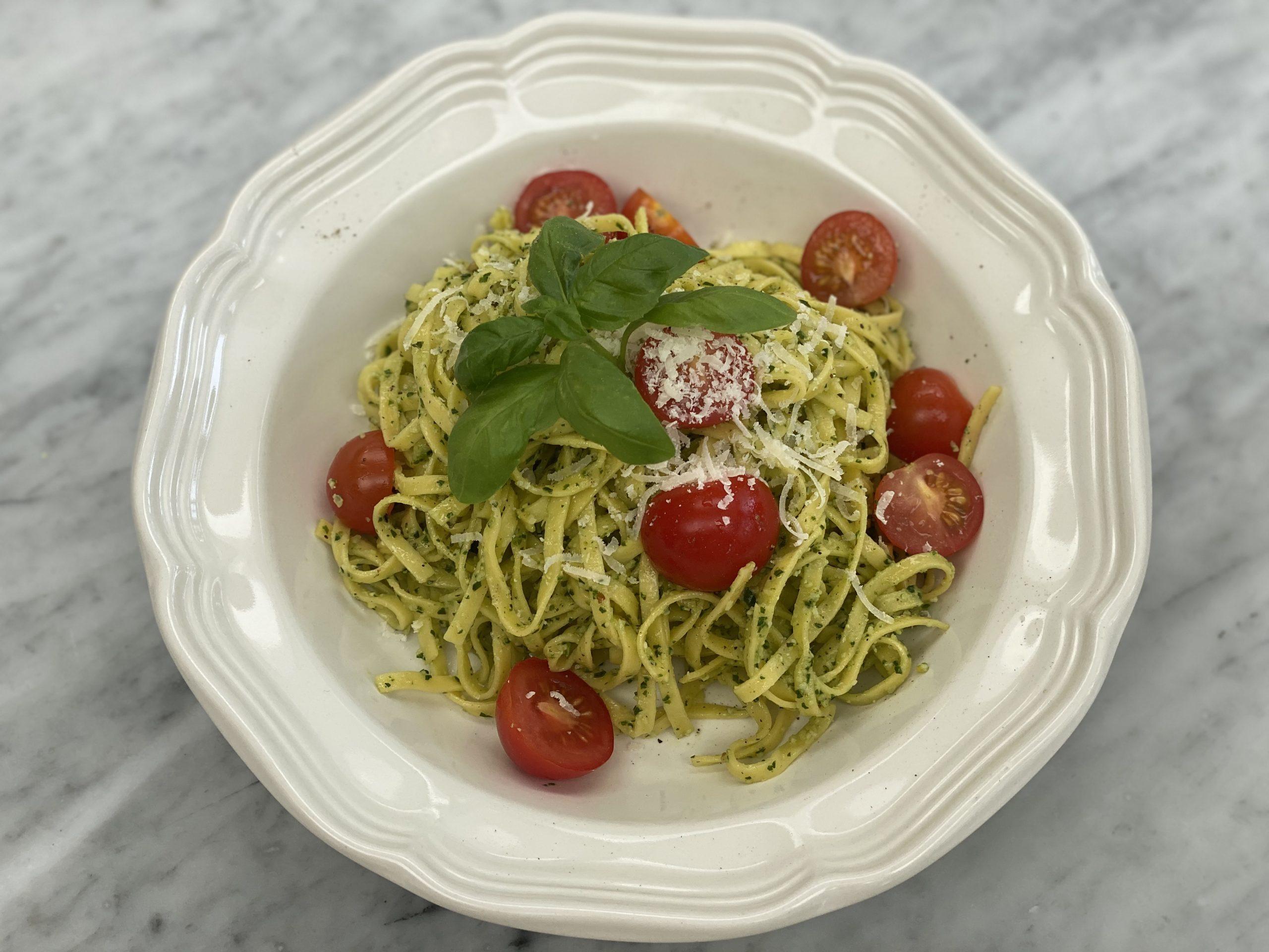 Spinach, Basil & Lemon Pesto Pasta with a glass of Italian Gavi wine