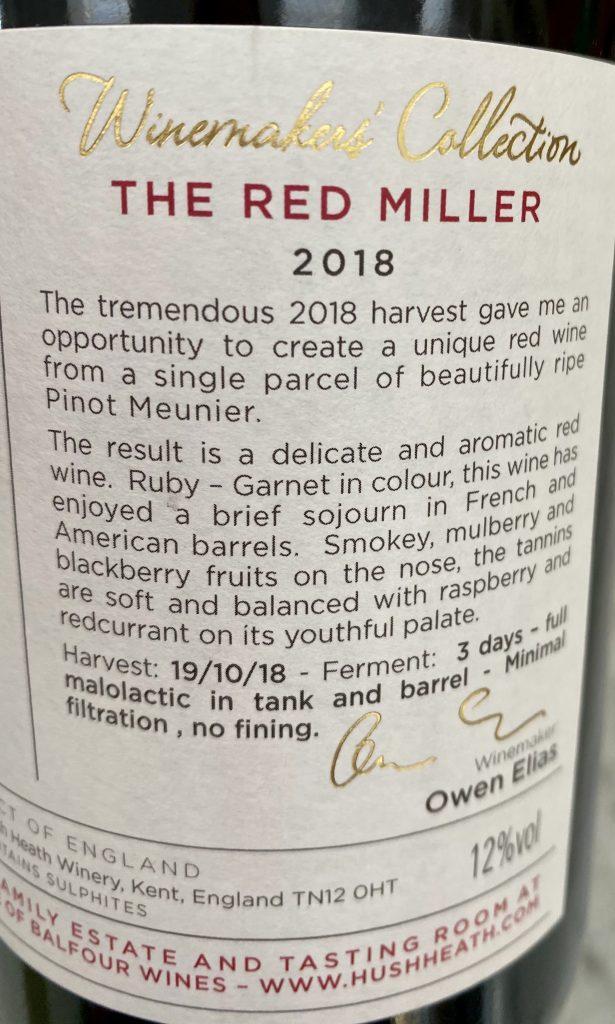 Red Miller 2018 back label 2