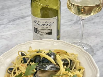 Mussels in a Saffron Cream Spaghetti Sauce  Paired with Muscadet Wine