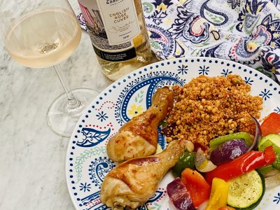 Sticky Sweet Chilli Chicken Drumsticks Paired with an English Rosé Wine