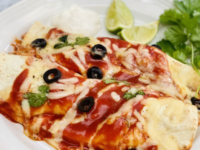 Buttermilk Chicken Enchiladas Paired with an Off-Dry White Wine