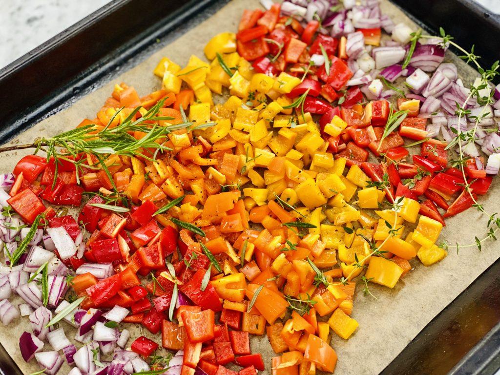 rainbow roasted sweet peppers