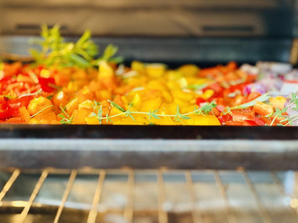 rainbow sweet peppers roasting