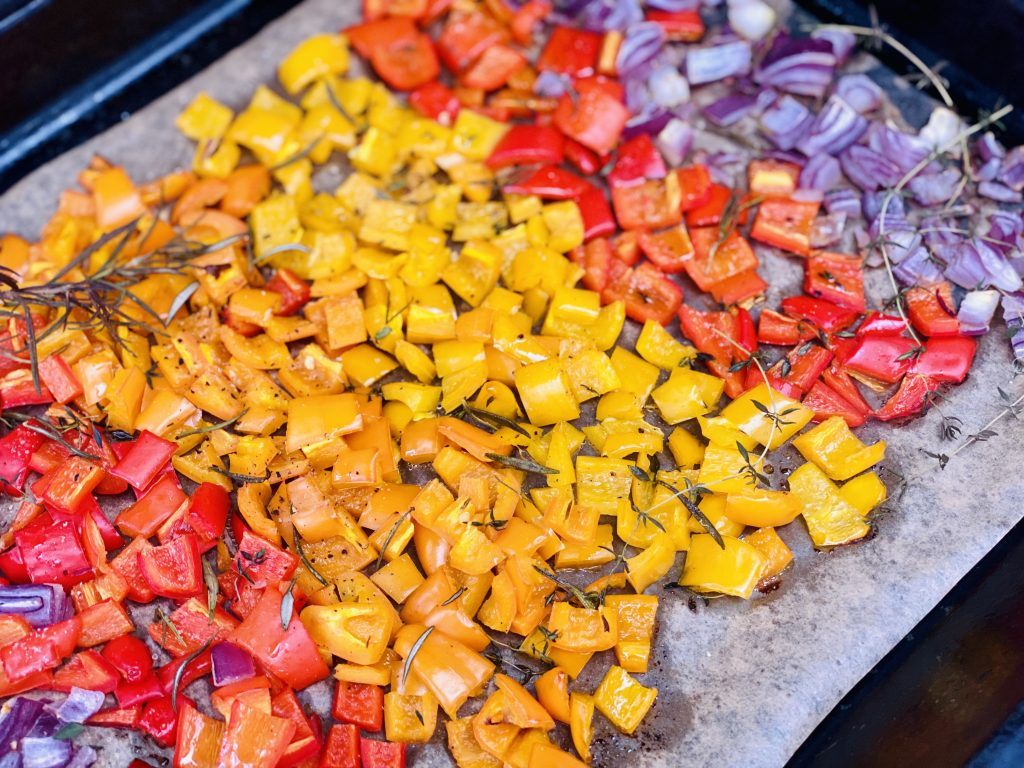 finished rainbow roasted sweet pepper antipasto
