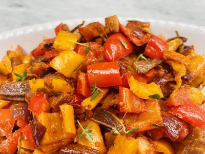 Rainbow Roasted Sweet Pepper Antipasto Paired with an Off-Dry Rosé Wine