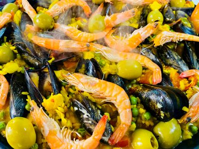 Paella Valenciana Paired with an Alcanta Red Blend Wine